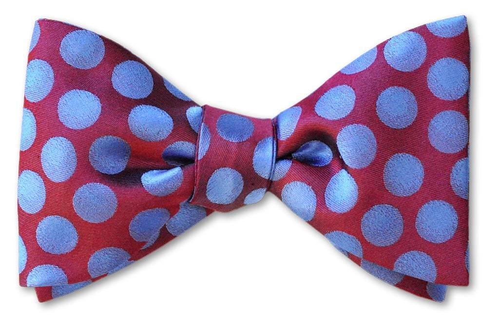 Burgundy and Blue Polka Dots Silk Bow Tie