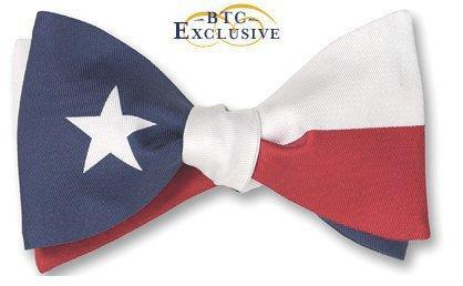 Texas Lone Star Flag Silk Bow Tie