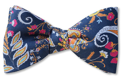 Lorenzo Blue Floral Bow Tie pre tied