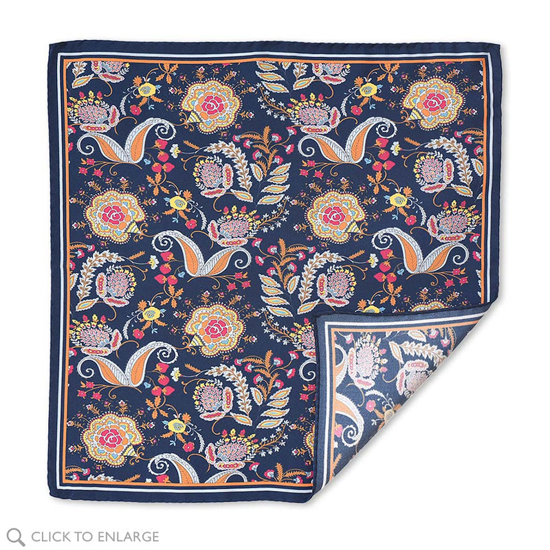 Como Italy Navy Silk Floral Pocket Square