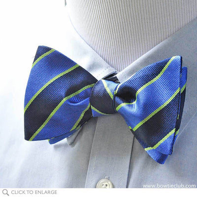 Pre tied Blue Repp Triple Stripe Woven Silk bow tie on shirt