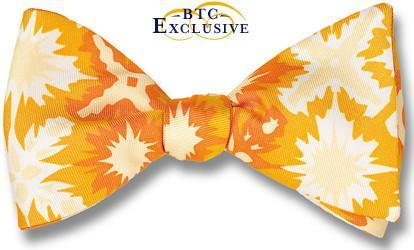 bow ties designer american made yellow starburst silk