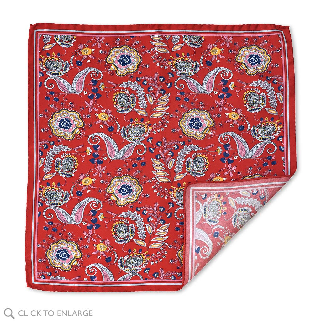 Men's Red Floral Italian Silk Pocket Square