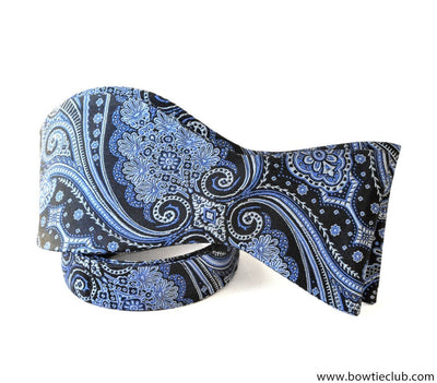 Blue Paisley Self-tie Bow Tie