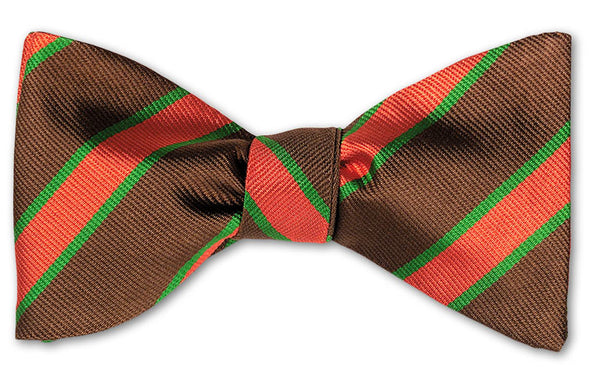 British Woven Stripes Silk Bow Tie Brown Orange