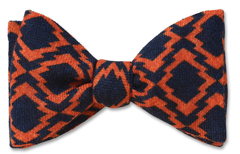 Maratea Italian Wool Flannel Navy and Orange Diamond pattern pretied bow tie