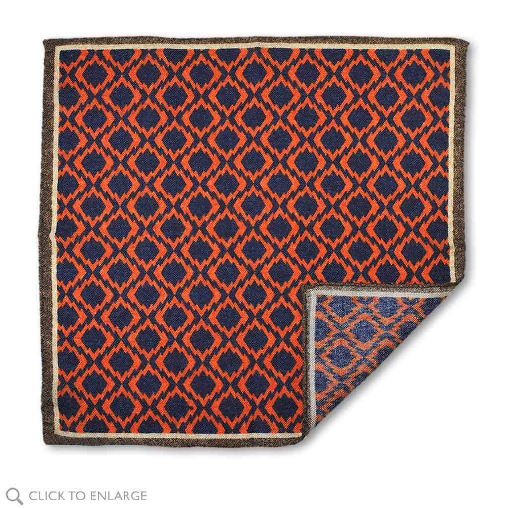 navy and orange wool made in Italy pocket square