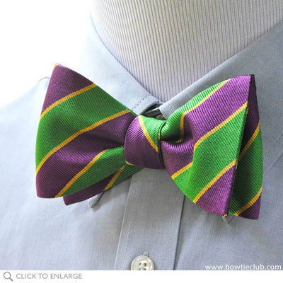 Mardi Gras Stripe Bow Tie on Blue Shirt