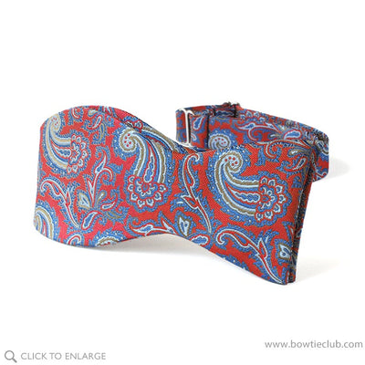 Self-tie Blue and Red Paisley British Woven Silk Bow Tie