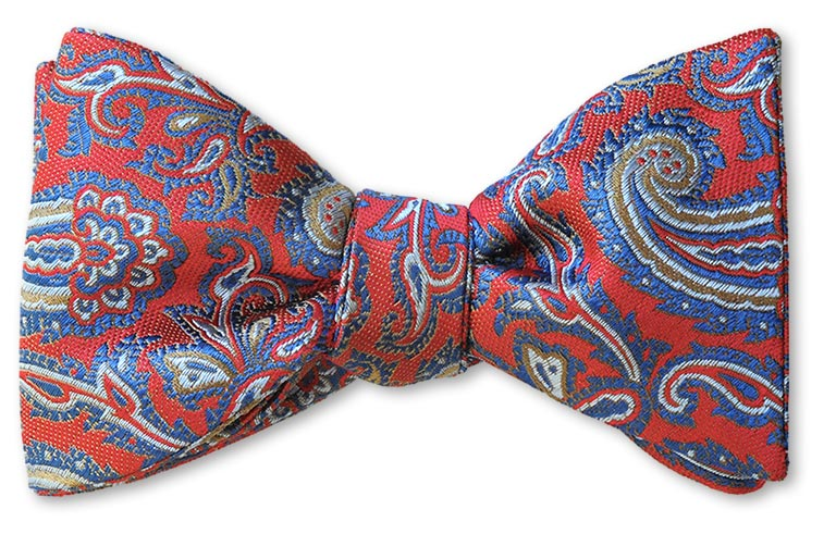 Blue and Red Paisley British Woven Silk Bow Tie