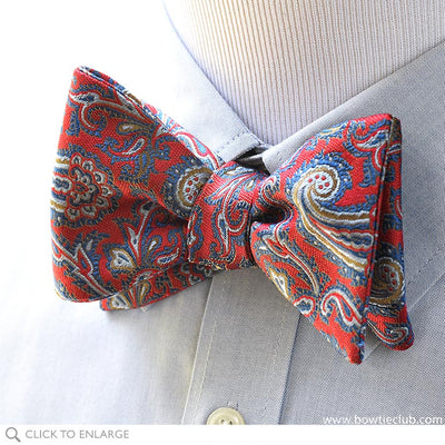 Pre-tied Blue and Red Paisley British Woven Silk Bow Tie