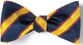 bow ties american made navy yellow stripes silk