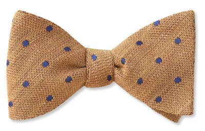 Linen bow tie in gold with silk and wool