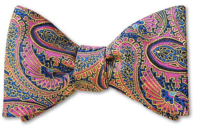 Highest Quality Pink Paisley Woven Bow Tie