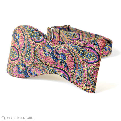 self tie pink paisley woven bow tie