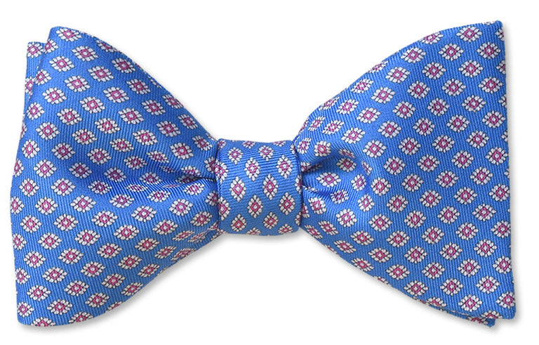 Italian Silk Light Blue Silk Bow Tie With White Florets