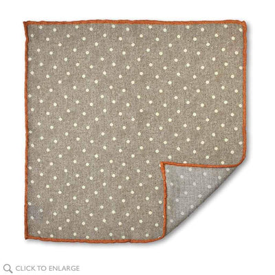 taupe polka dot wool pocket square
