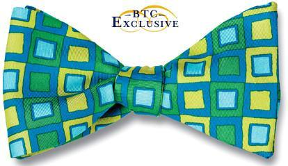 bow ties designer american made green silk squares