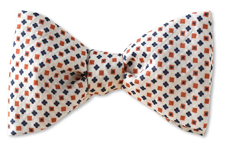 Pretied Montauk White Florets Cotton Silk Seersucker Bow Tie