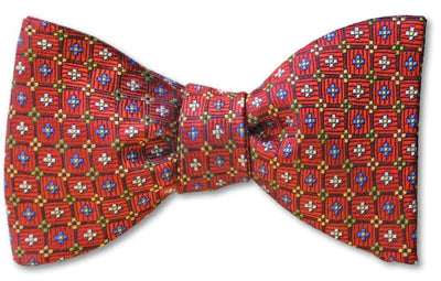 pre-tied red floret bow tie