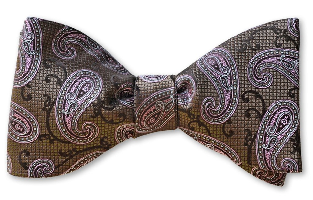pretied brown and pink paisley bow tie