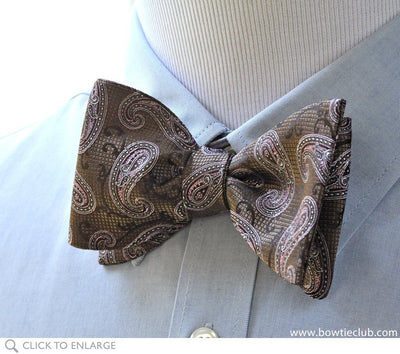 tie your own brown and pink paisley bow tie