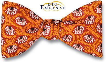 bow ties elephants orange silk american made