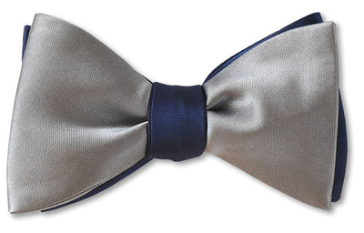 Grey and Navy silk satin mens bow tie