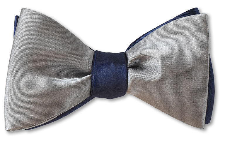 Navy and Grey Silk Satin Bow Tie