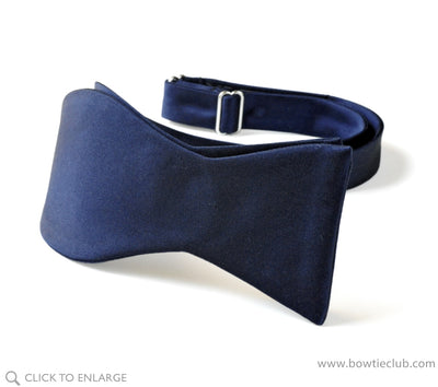 Navy Blue Satin Bow Tie