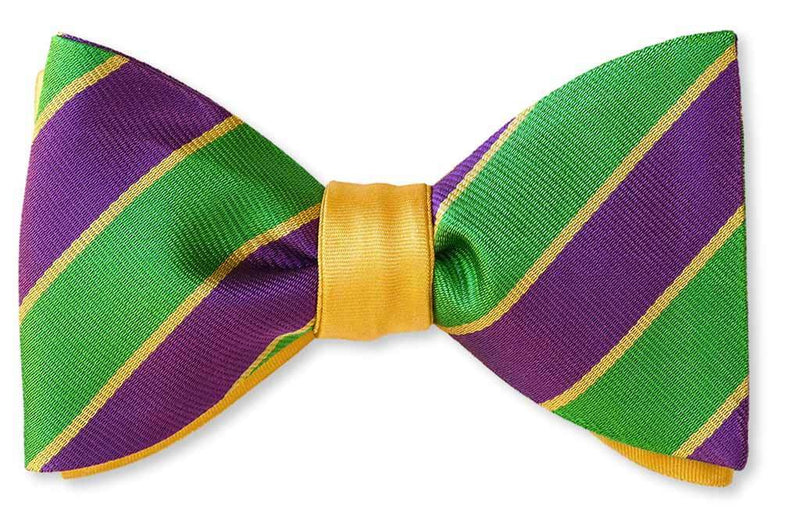 New Orleans Mardi Gras Reversible Stripe Bow Tie