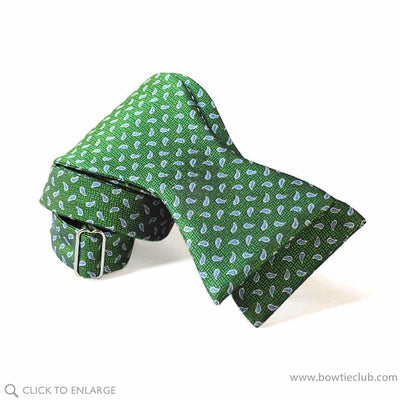 green teardrop bow tie self tie