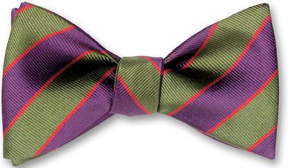 bow ties american made green purple stripes