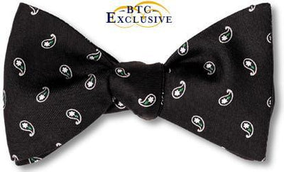 Black Teardrop Silk Bow Tie