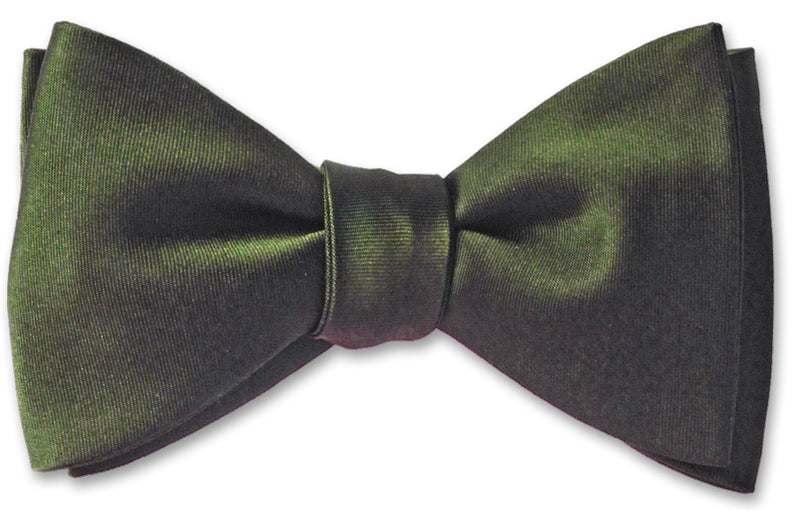 Dark Olive Green Satin Bow Tie