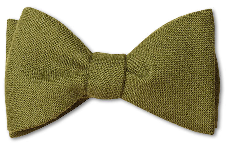 Olive Green Wool Bow Tie