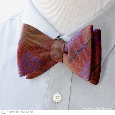 Ombersley Purple Red Brown and Green British Woven Wool Bow Tie on shirt