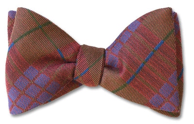 Ombersley Purple Red Brown and Green British Woven Wool Bow Tie