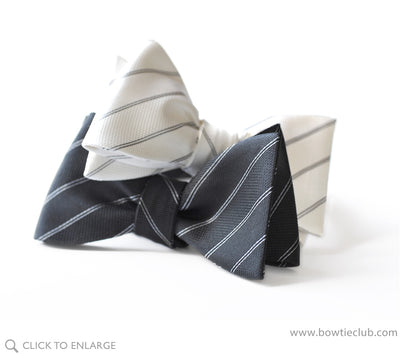 Black and white stripes silk formal bow tie