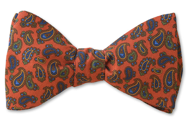 Orange Paisley Cotton Bow Tie