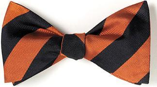 bow ties american made orange black stripes