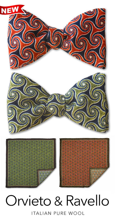 Italian wool flannel bow ties and matching pocket squares