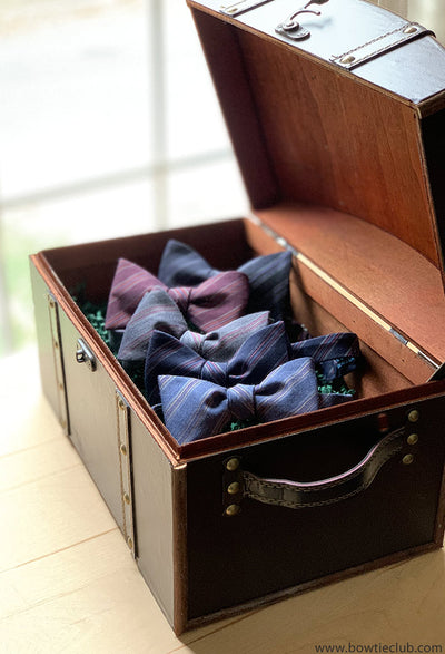 chest of American Made bow ties from the Bow Tie Club