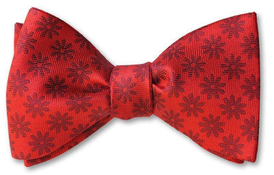 red floral pre-tied bow tie