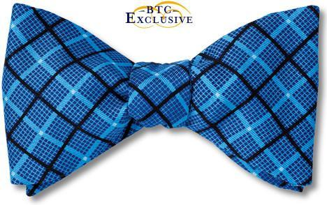 bow ties designer american made printed blue silk plaid