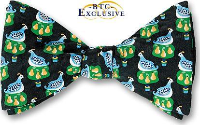 Twelve Days Of Christmas Partridge In A Pear Tree Bow Tie on black