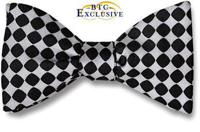 bow ties designer american made black silver silk