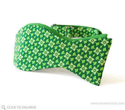 Green Clover St Patrick's Day two sided self tie bow tie