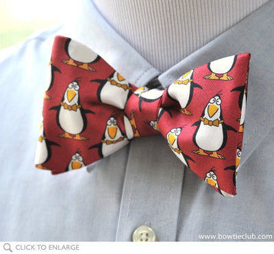 penguin bow tie on shirt
