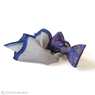 gray wool pocket square with blue bow tie